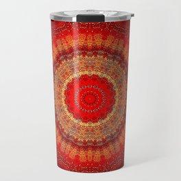 Vibrant Red Gold and black Mandala Travel Mug