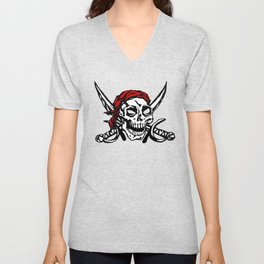 Cranium Swords and Red Scarf Unisex V-Neck