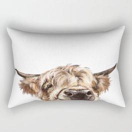 Peeking Highland Cow Rectangular Pillow
