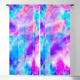 Modern hand painted neon pink teal abstract watercolor Blackout Curtain