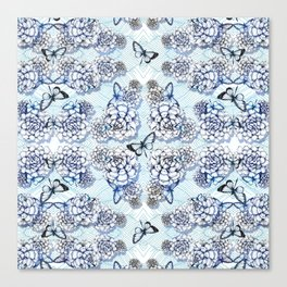Succulent Motif and Butterfly # Cerulean Blue Canvas Print