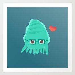 Cuddly the Cuddlefish - heart you Art Print