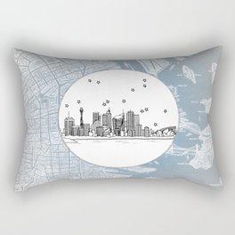 Sydney, New South Wales, Australia City Skyline Illustration Drawing Rectangular Pillow