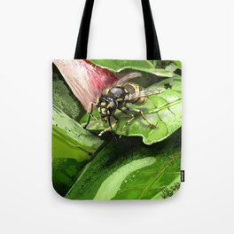 Wasp on flower16 Tote Bag