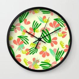 Henri's Garden in lemongrass // tropical flora pattern Wall Clock