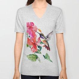Hummingbird and Hibiscus, tropical Hibiscus design Unisex V-Neck