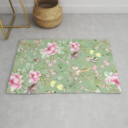 Vintage & Shabby Chic Chinoserie Pastel Spring Green Flowers And Birds Garden Rug