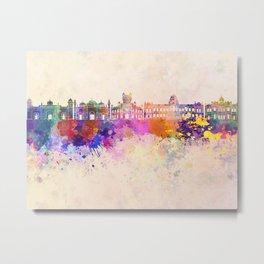 Dhaka skyline in watercolor background Metal Print