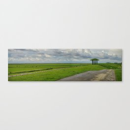 Panorama, Dike and Temple Marrum (Friesland, The Netherlands) Canvas Print