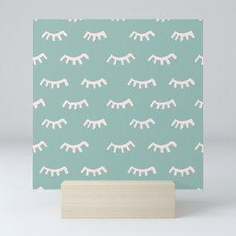 Mint Sleeping Eyes Of Wisdom - Pattern - Mix & Match With Simplicity Of Life Mini Art Print