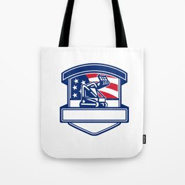 Forestry Cutter USA Flag Badge Tote Bag