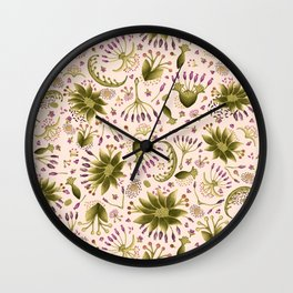 Botanical Wildflower Meadow Floral Watercolor Pink, Green, Lavender Flowers Wall Clock