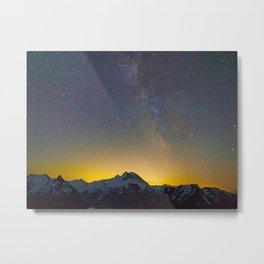 Mountains Landscape Star Night Sky Sunset Milky Way Galaxy Metal Print