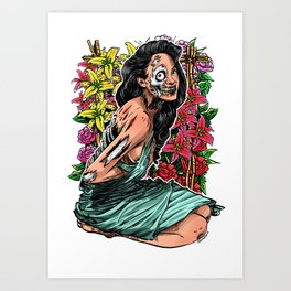 BEAUTIFUL AND FLOWERS Art Print