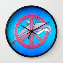 Dolphin And Pink Peace Sign Wall Clock