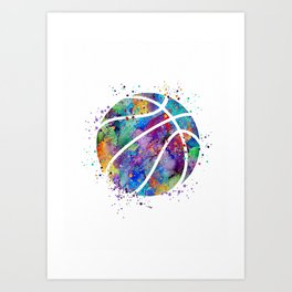 Basketball Watercolor Art Print Sports Poster Home Decor Kids Room Sports Painting Nursery Decor Art Print