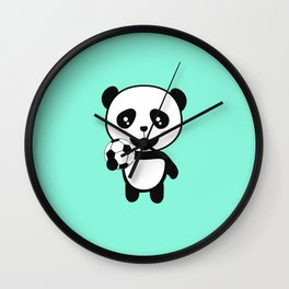 Soccer Panda with ball T-Shirt for all Ages Dkbjf Wall Clock