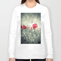letters Long Sleeve T-shirts featuring Poppies & Letters by ARTbyJWP