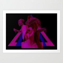 Neon Ram Girl Art Print
