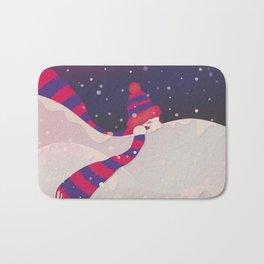 Christmas Peekaboo Snowman II - Blue Violet Snowy Background Bath Mat