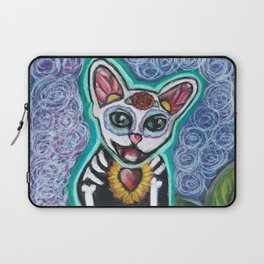 Turquoise Day of the Dead Cat Laptop Sleeve