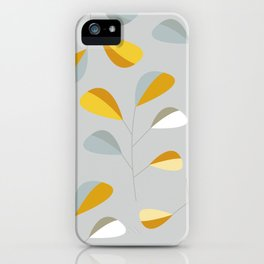 Mid Century Modern Graphic Leaves Pattern 2. Pastel Grey iPhone Case