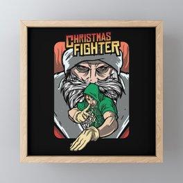 Christmas Fighter Brawler Gaming Design Framed Mini Art Print