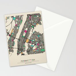 Colorful City Maps: Manhattan, New York Stationery Cards