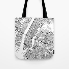 New York City Neutral Map Art Print Tote Bag