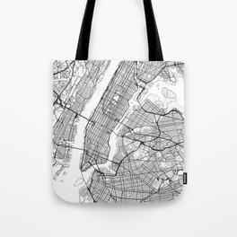 New York City Neutral Map Art Print Tote Bag