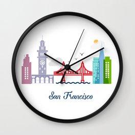 what a colorful city San Francisco, CA. v2. Wall Clock