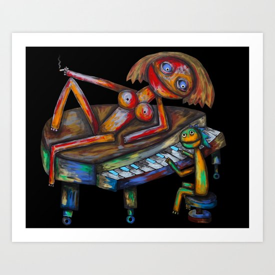 Every morning Jack plays the piano! Art Print