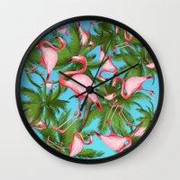 palm tree Wall Clocks featuring Palm tree by mark ashkenazi