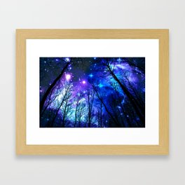 black trees purple blue space Framed Art Print