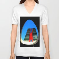 barcelona V-neck T-shirts featuring barcelona by Joan-Ma Espinosa
