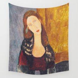 Jeanne Hebuterne woman portrait by Amedeo Modigliani Wall Tapestry
