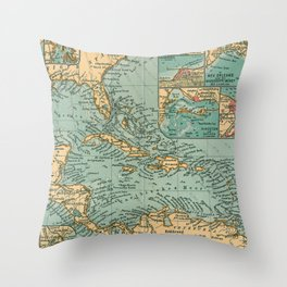 Vintage Map of The Caribbean (1906) Throw Pillow