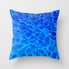Blue Water Abstract Throw Pillow