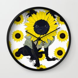 Sunflower Chihuahua Wall Clock