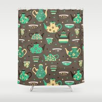 cooking Shower Curtains featuring Tea pattern. by Julia Badeeva