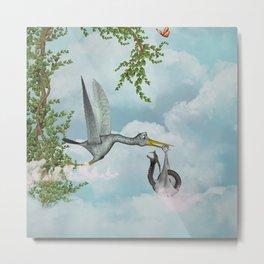 Funny stork Metal Print