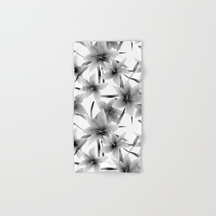 Lily. Black and white pattern . Hand & Bath Towel