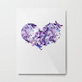 Dragonfly Heart - Ultraviolet Purple Metal Print