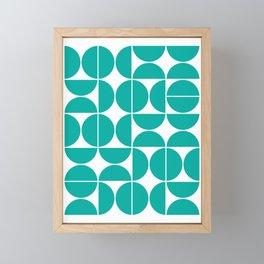 Mid Century Modern Geometric 04 Turquoise Framed Mini Art Print