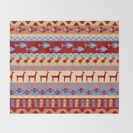 Inca Animals Fish and Birds Pattern Throw Blanket