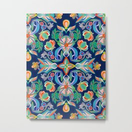 Boho Navy and Brights Metal Print
