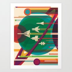 Space Ships Pop Art Vintage Art Print