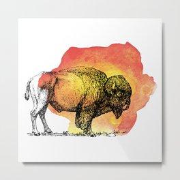 American Bison on Sunset Orange Watercolor Metal Print
