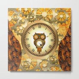 Steampunk, cute owl Metal Print