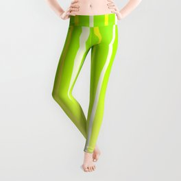 Dissolving Stripes Pattern in Bright Spring Green and Yellow Leggings